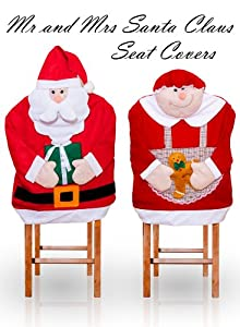Mr and Mrs Santa Claus Seat Cover - Christmas Holiday Chair Covers 2 Pc Set