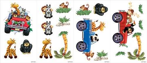 Snap Kids GAPP1856 Safari Room Appliqué, Red and Blue, 4 Sheets