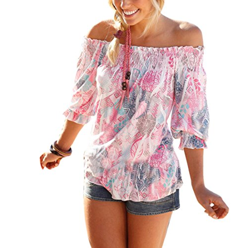 Bellezza Donna Bluse Chiffon Senza Spalline Maniche a 3/4 Stampato Floreale Camicia Camicetta T-shirt Ragazza Tops Vestiti per l'estate