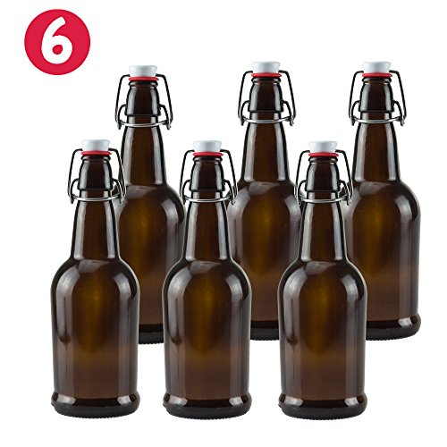 16 oz Amber Glass Beer Bottles for Home Brewing 6 Pack with Flip Caps (Beer Making Sugar compare prices)