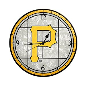 MLB Pittsburgh Pirates 12-Inch Art Glass Clock by The Memory Company