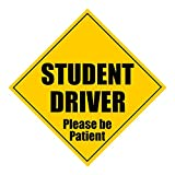 """Zone Tech Student Driver Please Be Patient 5"""" X 5"""" MAGNET - Safety Caution Sign (1)"""