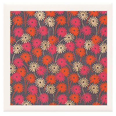 Hand Made Coasters [Set Of 4] - Stylish Gold Pink And Orange Flowers Design From Our Modern Art Design Collection - A Stylish And Chic Way To Add A Unique Special Personal Touch To Your Decor - Great For A Gift - Crafted By Hand Of Ceramic Tile, Hand Made front-261226