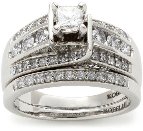Kobelli 1 Cttw Princess and Round Diamond Wedding Set Rings