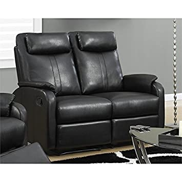 Monarch Specialties Reclining - Love Seat Black Bonded Leather