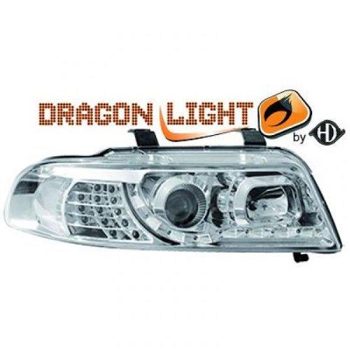 phares à LED diurnes, Dragon Lights, chrome AUDI A4, 99-00 chrome DRAGON LIGHTS pour réglage électrique H1+H1