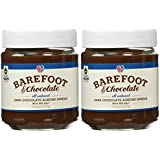 Barefoot & Chocolate - Dark Chocolate Almond Spread - 2 Jar Pack (2 x 9.75oz) - All Natural - Super Premium Chocolate Spread / Cocoa Spread