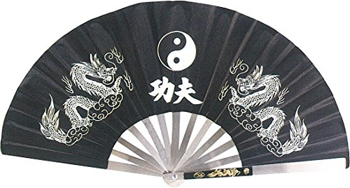 3 Colors Stainless Steel Tai Chi Kung Fu Fighting Fan With Double Dragon Design (Black) (Kung Fu Fighting Fan compare prices)