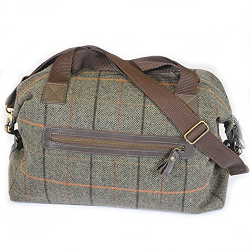 Luxury-Tweed-Weekender-Holdall-overnight-travel-bag-Green-BRITISH-MADE