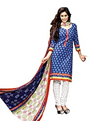 Drapes Women's Cotton Printed Unstitched Dress Material (Blue)