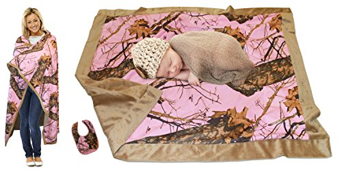Realtree Mossy Oak Baby Blanket Pink Blue Boys Girls Microsuede Blankie (Mother + Baby 2 Blanket Set, Mossy Oak Pink Mother/Baby)