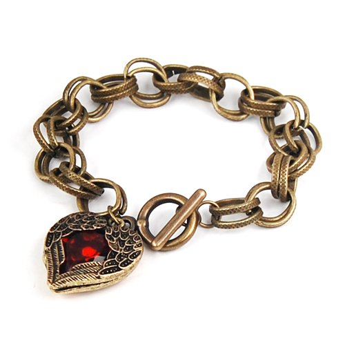 Antique Fashion Red Stone Heart Shaped Link Bracelet