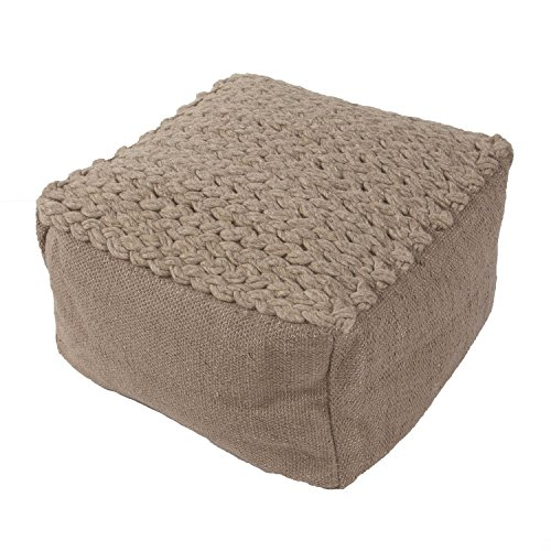 "Jaipurrugs Furniture Decor Ottomans Handmade Scan02 Wool Taupe/Tan Pouf Border Color Brown Solid 23""X23""X13"""