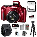 Canon PowerShot SX170 IS 16MP Digital Camera with 16x Optical Zoom and 3 inch LCD in Black   32GB SD