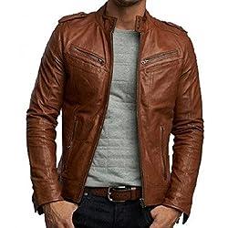 Zayn Leather Men's Leather Jacket (473_WLJ_Brown_Medium)