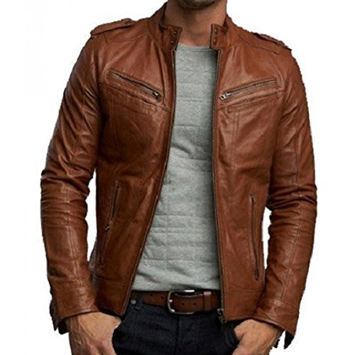 Zayn Leather Men's Leather Jacket (473_WLJ_Brown_Large)