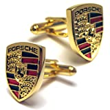Gold Porsche Automotive Car Logo Cufflinks