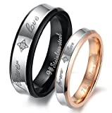 51rU4M2i20L. SL160  Geminis New Fashion Forever Love Black & Rose Gold Plated 316 L Stainless Steel Titanium Wedding Band Anniversary/engagement/promise/couple Ring Best Gift!