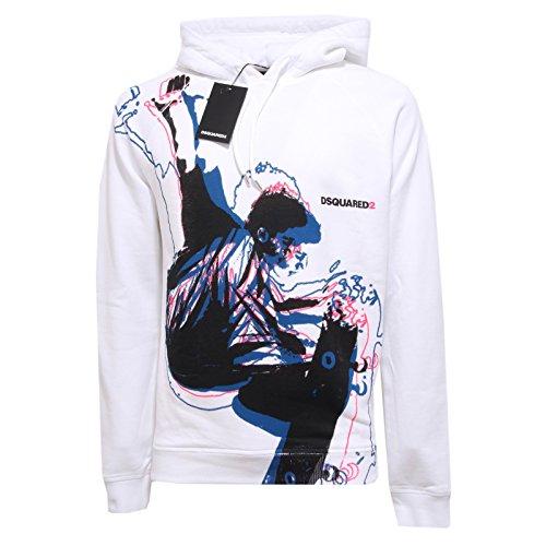 4793Q felpa uomo DSQUARED D2 cotone bianco sweatshirt men [M]
