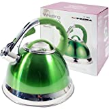 Green Stainless Steel Lightweight Whistling Kettle For Gas Electric Hobs 3.5L