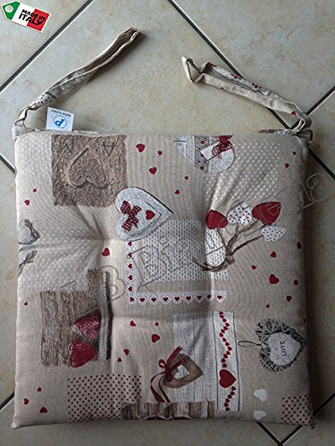 "Cuscino sedia con lacci Miros ""Holly"" Tirolese Country Chic cm 40x40 - Made in Italy"