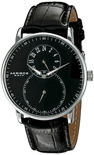 Akribos XXIV Men's Dual Time Silver Tone and Black Leather Strap Watch