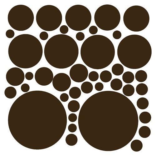 44 Chocolate Brown Polka Dot Peel & Stick Wall Stickers
