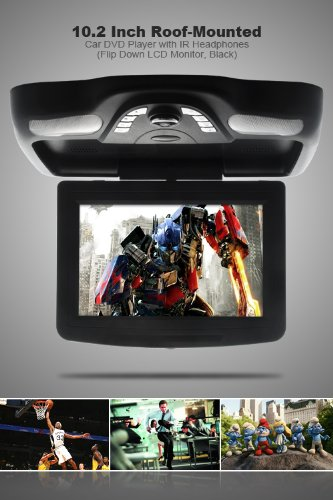 Vehicle Ergonomic 10.2 Inch Roof-Mounted Car Dvd Player With Ir Headphones (Flip Down Lcd Monitor, Black) Automobile New