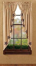 Bingham Star Prairie Curtain Applique Lined Set of 2 63x36x18\