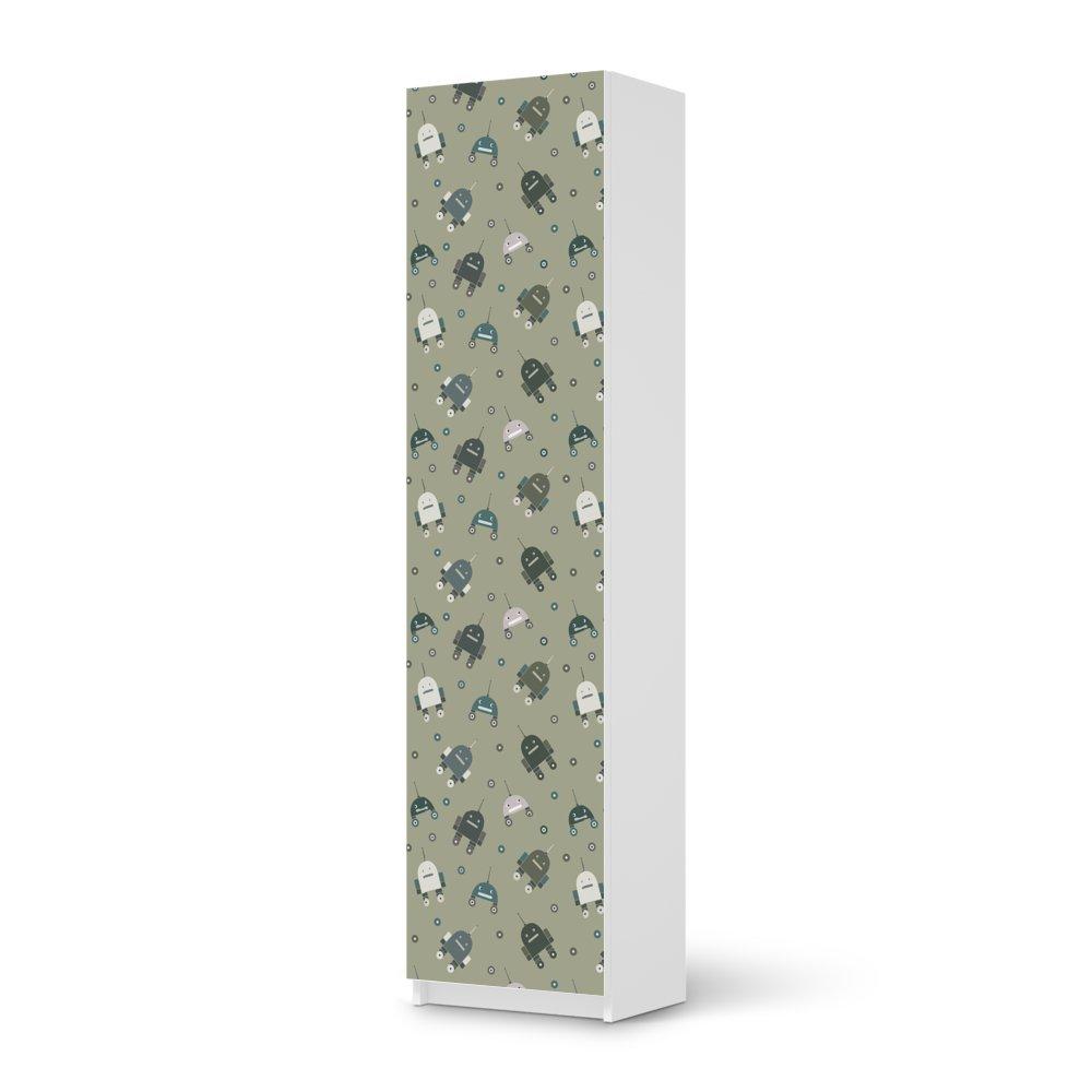Möbel-Aufkleber IKEA Pax Schrank 201 cm Höhe – 1 Tür / Design Sticker Robots – Braungrau / selbstklebende Dekoration online kaufen