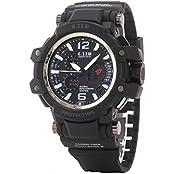 UQ Men S Sport Digital Analog Multifunctional Waterproof Watch With Calendar White Dial Black Silicone Bracelet...