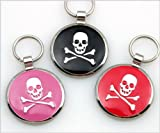 Pet ID Tag - Skull & Crossbones Jewelry Tag- Custom engraved cat and dog ID tags.