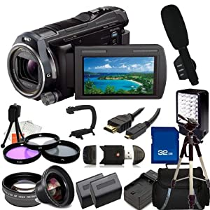 Sony HDR-PJ650 Full HD 32GB Camcorder with Wide Angle, Telephoto, Filter Kit, 32GB SD, Reader, 2 Extended Life Replacement Batteries, Charger, HDMI, LED Video light, Shotgun Microphone, Stabilizer, Case, Tripod - SSE Accessory Kit