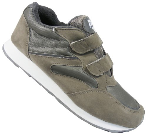 New Mens Grey ATHLETIC WORKS Velcro Sport Trainers Sneakers Size 8 9 10 11 12 13