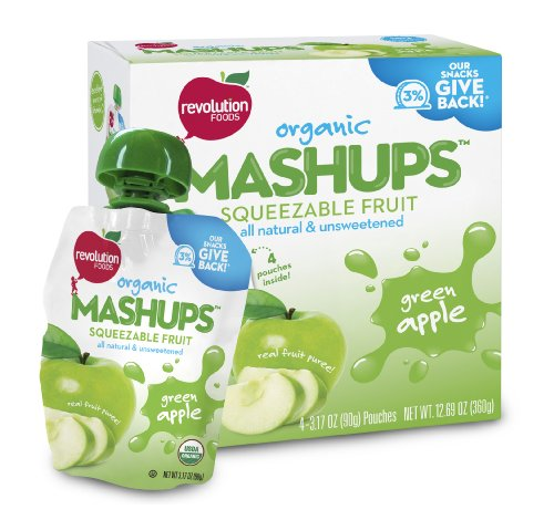 Revolution Foods Organic Mashups Squeezable Fruit Green Apple 3 17 Oz 4 Count Mashups Pack of 4