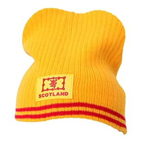 Mens Scotland Lion Rubber Badge Winter Beanie Hat