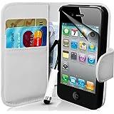 Supergets Hülle für Apple iPhone 4s und 4 Buch-Stil Imitat Ledertasche in Weiß Eingabestift, Displayschutzfolie, Reinigungstuch