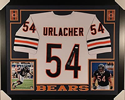 Autographed/Signed Brian Urlacher Framed 35x43 Chicago Bears White Football Jersey JSA COA