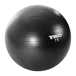 TKO Anti Burst Fitness Ball Set, Black, 75cm