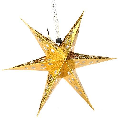 shzons 3d Pentagram paralume lanterna di carta paralume stella da appendere decorazioni per Natale Partito Holloween compleanno Home Decor luci (non incluse) Silver