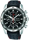 Seiko Sportura Chronograph Black Leather Strap Gents Watch SNAE65P1