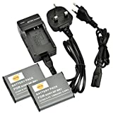 DSTE® 2pcs NP-BK1 Rechargeable Li-ion Battery + Charger DC16U for Sony Bloggie MHS-CM5, MHS-PM5, Cyber-shot DSC-S750, DSC-S780, DSC-S950, DSC-S980, DSC-W180, DSC-W190, DSC-W370, Webbie MHS-PM1 Digital Cameras