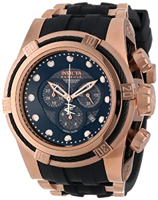 Invicta Men's 12667 Bolt Reserve Chronograph Black Carbon Fiber Dial Black Polyurethane Watch