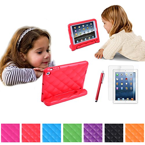 Hde Kids Safe Deluxe Soft Shock Proof Padded Foam Case Cover With Grip Handle For Ipad Mini / Mini 2 / Mini 3 / Retina With Screen Protector And Matching Stylus (Red)