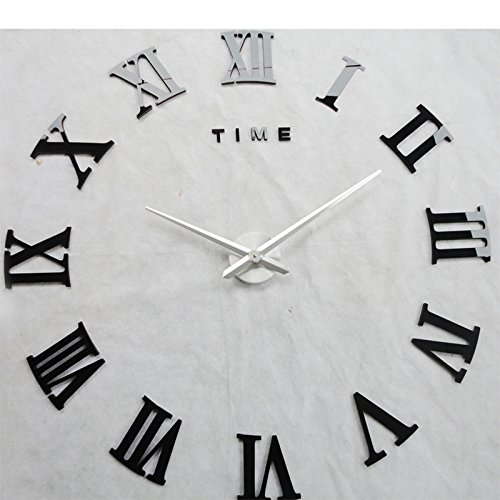 Yikebo(TM) Time Letters Roman Numbers Luxury Large Size Moderen DIY Frameless Quartz 3D Large Big Mirror Surface Effect Wall Clock Oversized Clock Living Room Décor Wall Sticker Decal Meetting Room Office Creative Decoration Art Watches-3 Colors (Black)