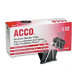 ACCO Binder Clips, Medium, 12 per box (72050)