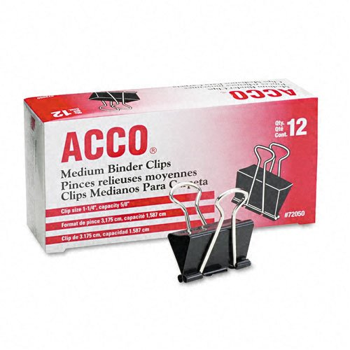 ACCO Binder Clips, Medium, 12 Per Box (72050)