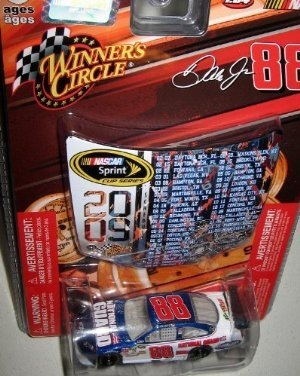 Dale Earnhardt Jr #88 Amp National Guard Blue White Die-cast Car 1/64 Scale Winner's Circle with Mini Hood Magnet 2009 Sprint Cup - 1