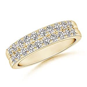 Double Row Diamond Wedding Band in 14K Yellow Gold