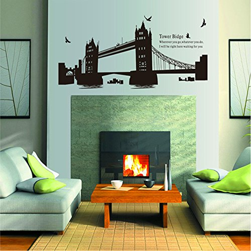Olivia London Tower Bridge Wall Decals Quotes ¨C Where You Go, Where You Do, I Will Be Right Here Waiting For You ¨C Love Romantic Saying Flying Birds Removable Black Wall Stickers Decor